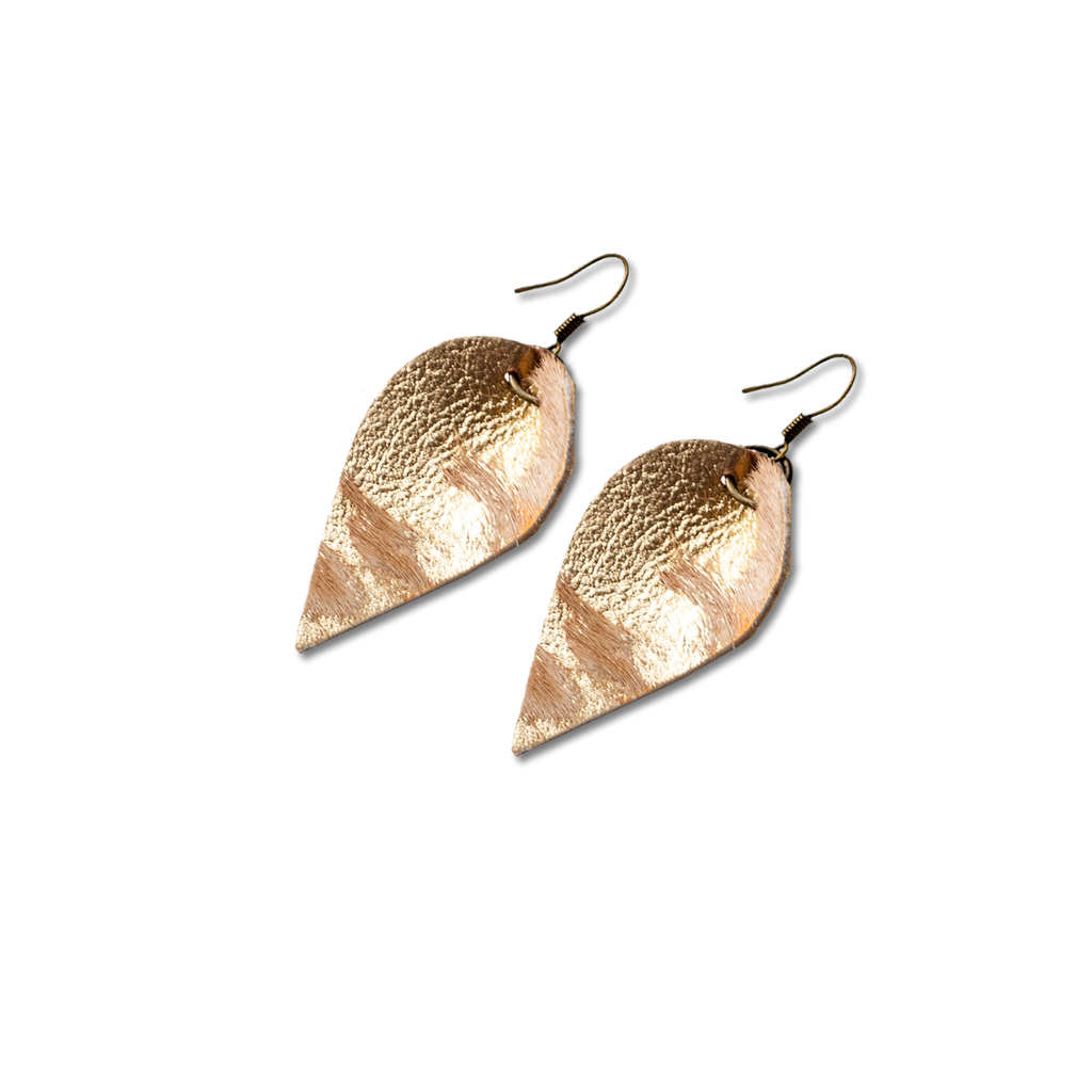 Mini Acid Washed Gold and Brown Leather Leaf Earring