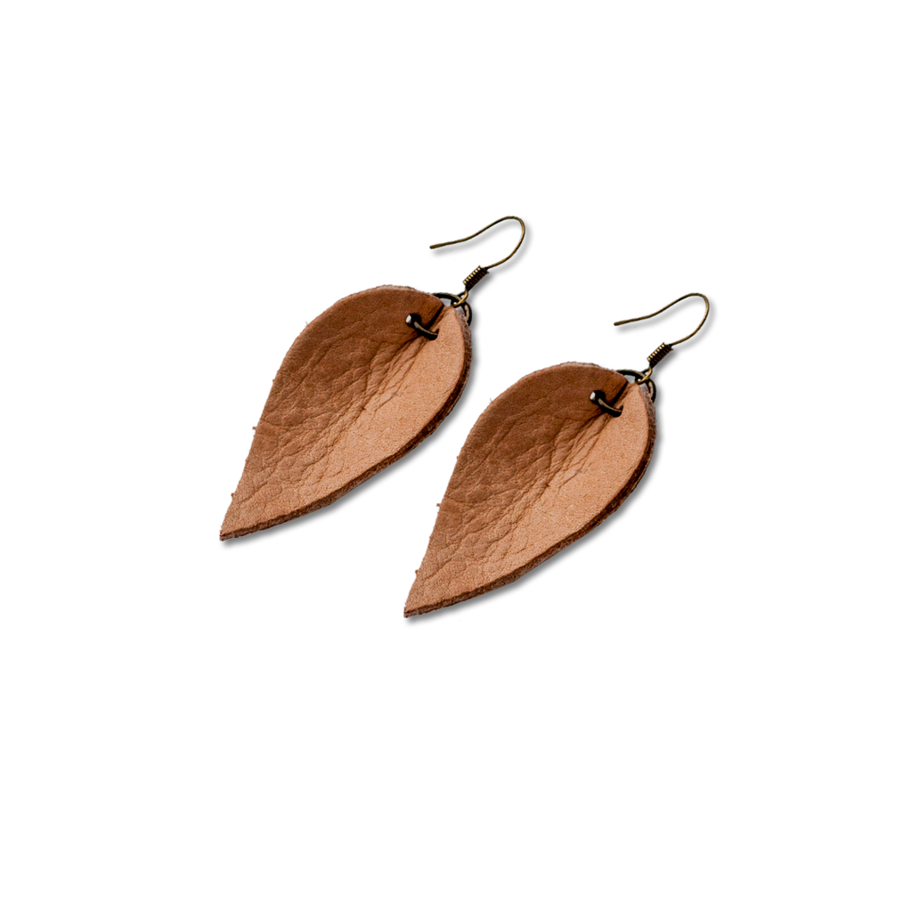 Natural Mini Leather Leaf Earrings