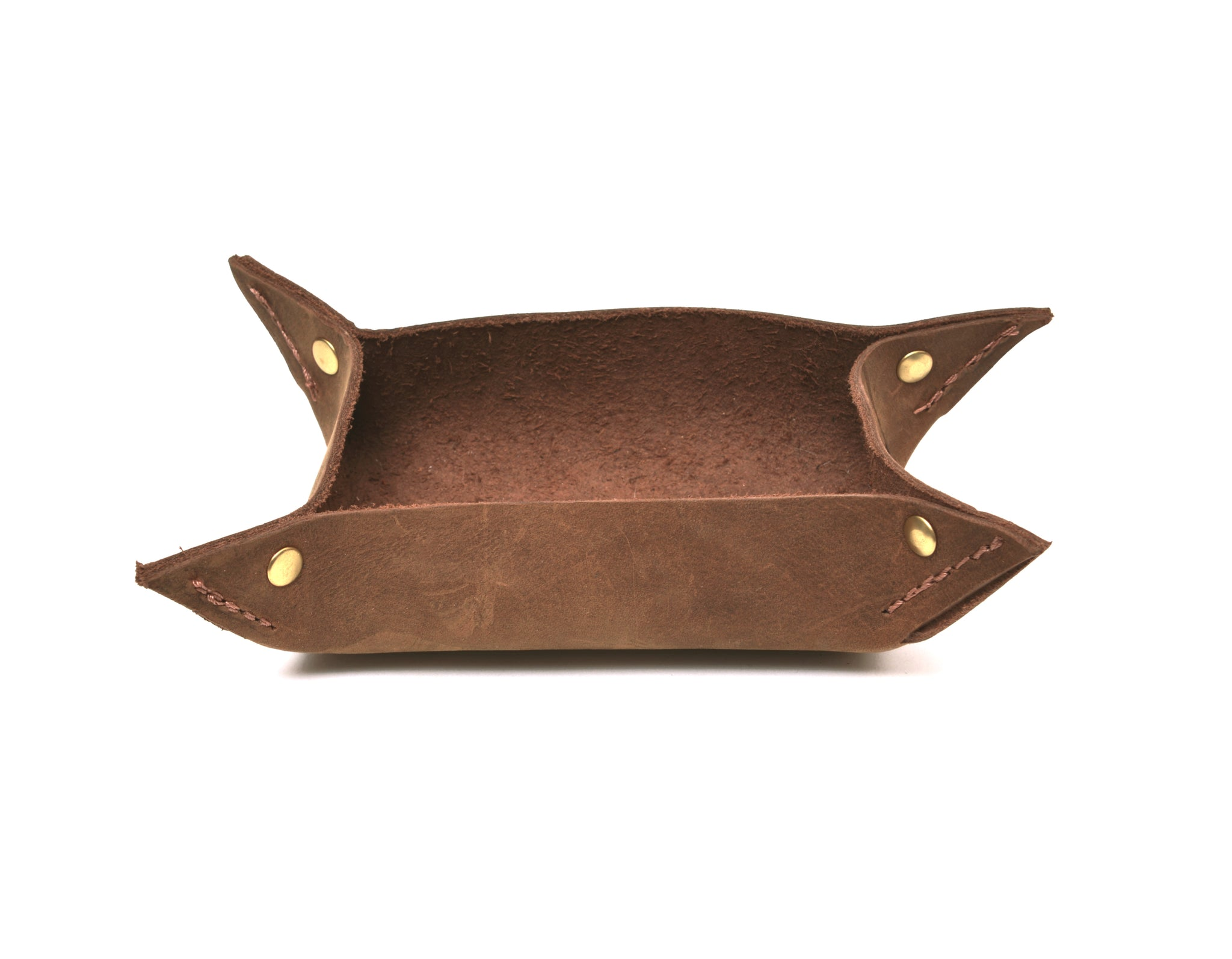 Leather Valet Tray, Leather Catch All, Small Brown Leather Tray