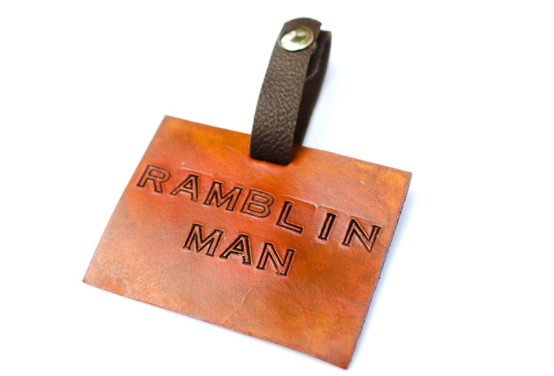 Leather Luggage Tag, Ramblin Man