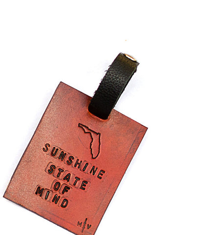 Leather Luggage Tag, Sunshine State Of Mind