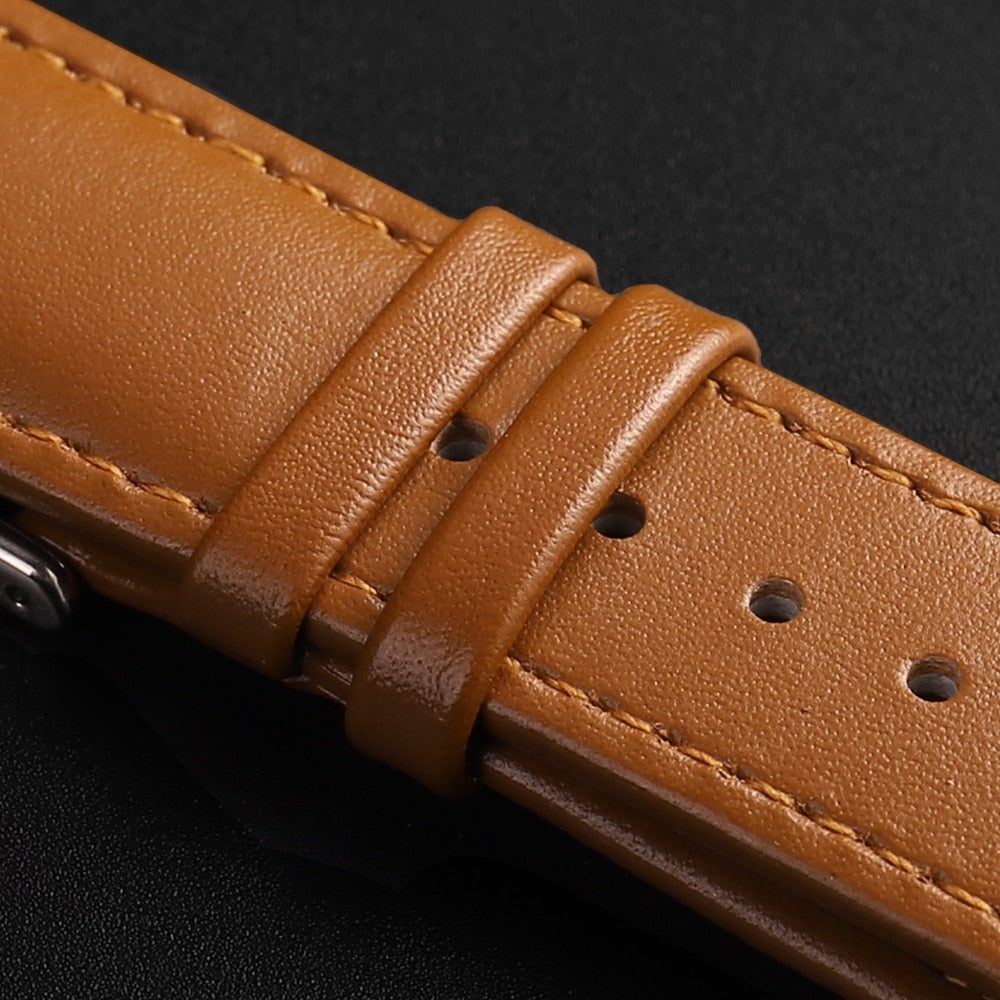 Brown Leather Band Loop Strap For Apple Watch 6 SE 5 4 3 2 1 38mm 40mm , Men Leather Watch Band for iwatch 5 44mm 42mm Bracelet