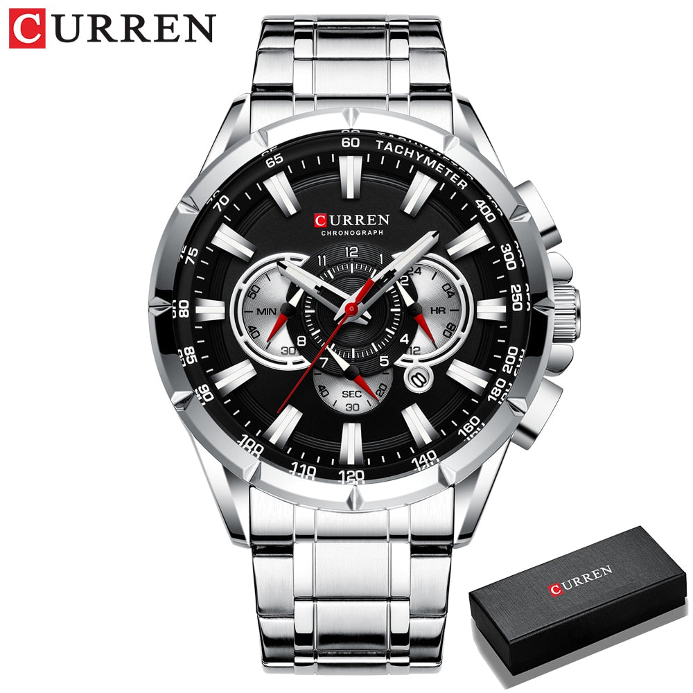 CURREN New Causal Sport Chronograph Men's Watches Stainless Steel Band Wristwatch Big Dial Quartz Clock with Luminous Pointers