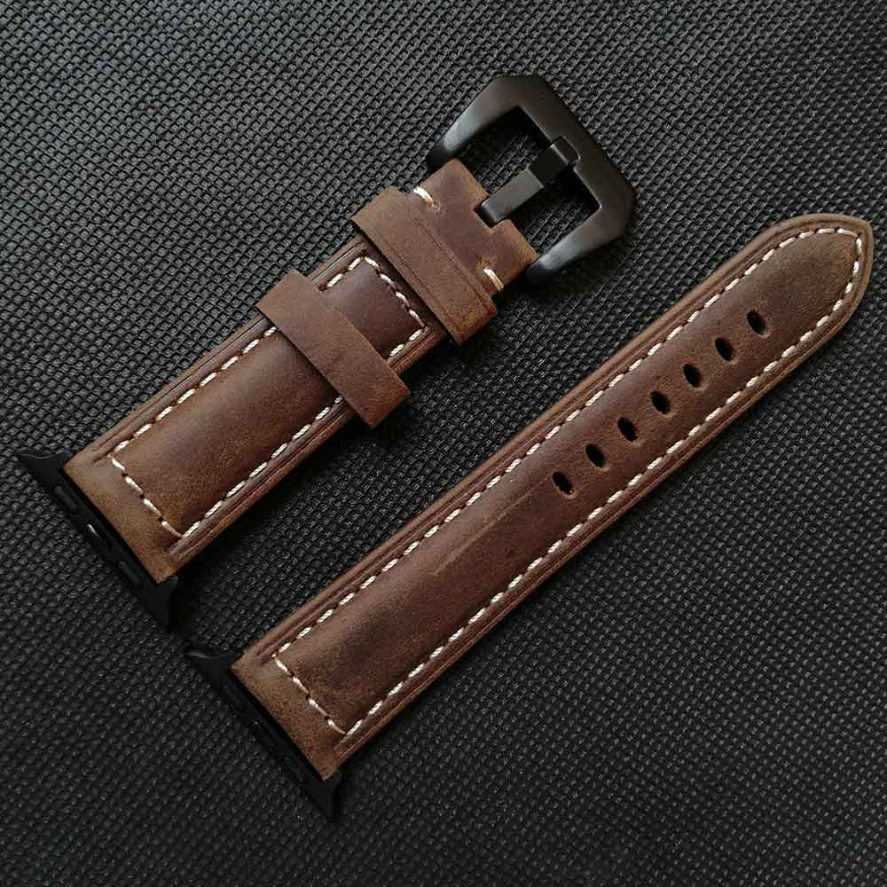 Crazy Horse Leather Watchband for Apple Watch 5/4 44mm 40mm Series 3/2/1 Bracelet 42 mm 38 mm Strap for iwatch Band Watch Strap