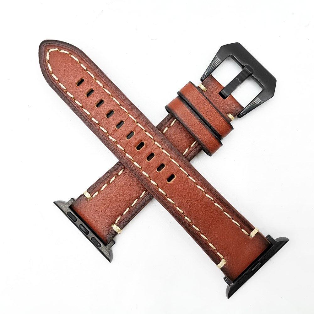 Leather Loop Strap for Apple Watch Band 44mm 40mm for Iwatch Band Series 5 4 3 2 1 Bracelet 42mm 38mm Wristbands Brown