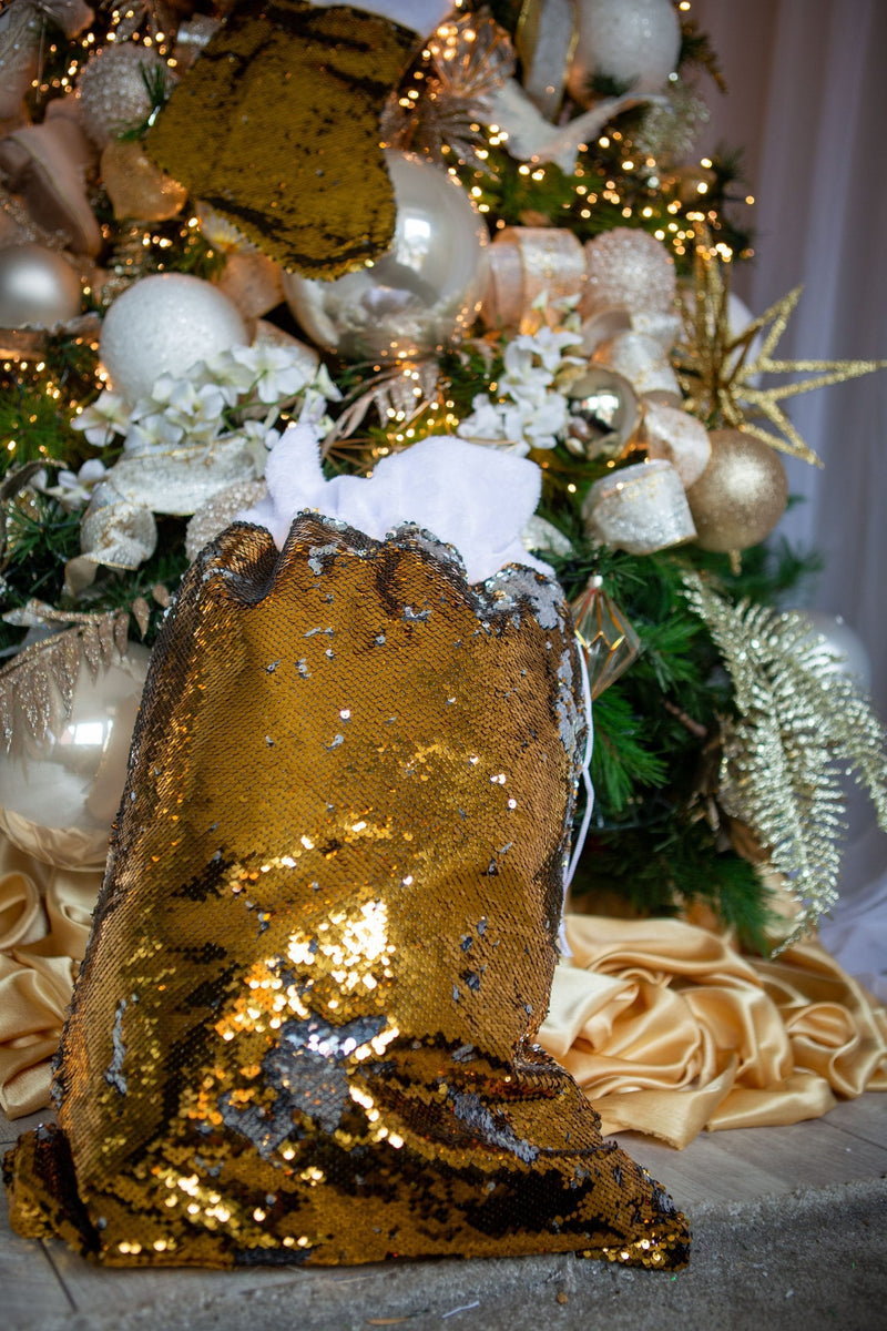 Gold and silver sequin sack