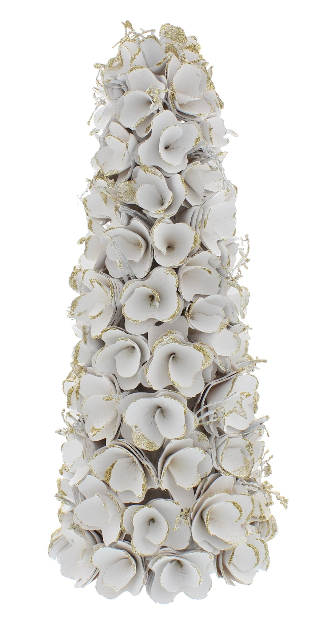 White & Gold Flower and Twig Decorative Tree (43cm)