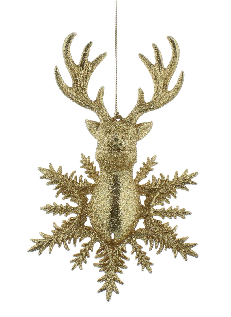 Gold glitter snowflake reindeer tree decoration (18cm)