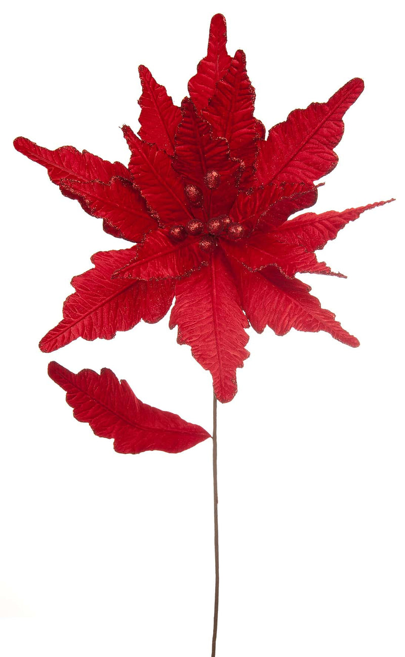 Large Red Velvet Christmas Flower Poinsettia stem (57cm)