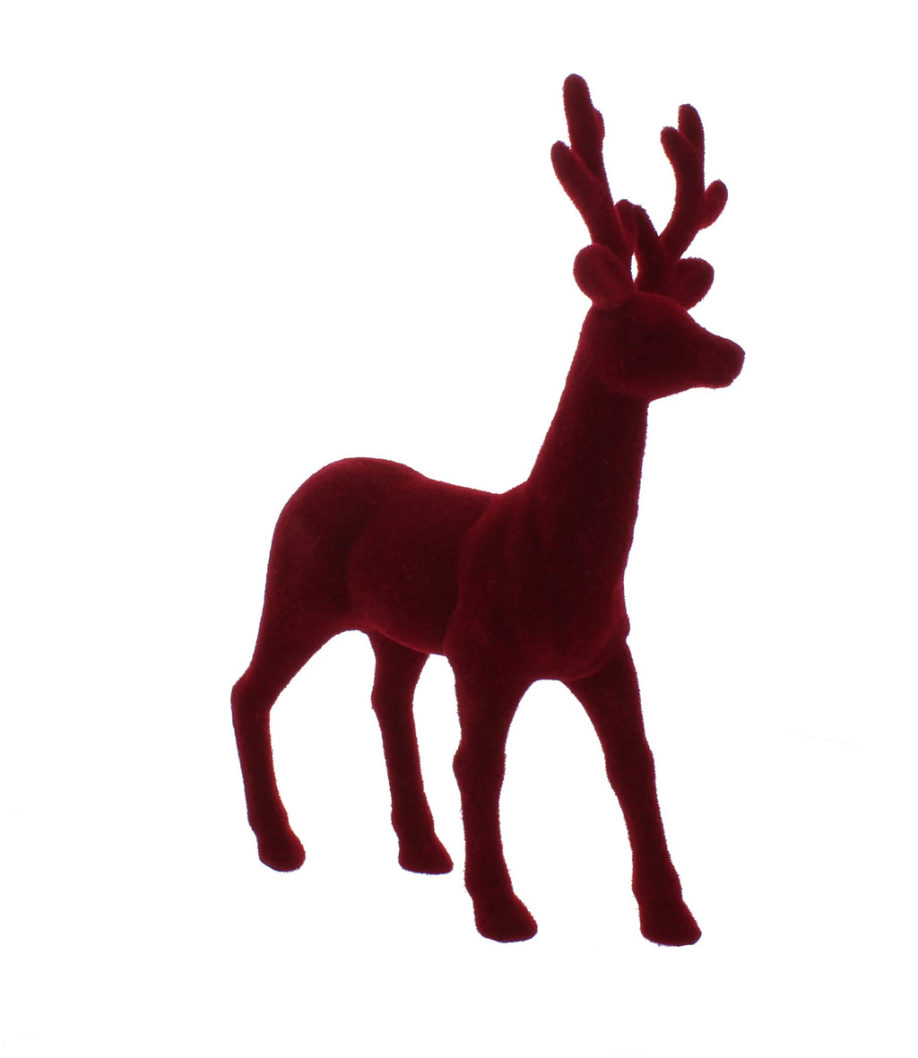33cm Berry red flocked standing reindeer
