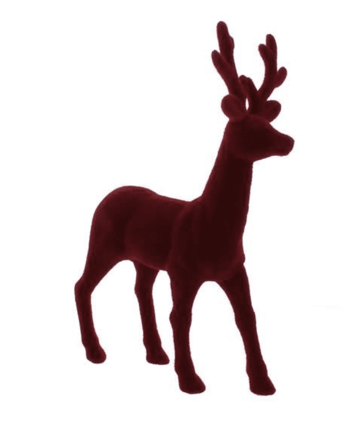Red flocked reindeer