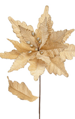 Champagne Gold Velvet Flower Poinsettia Stem (57cm)