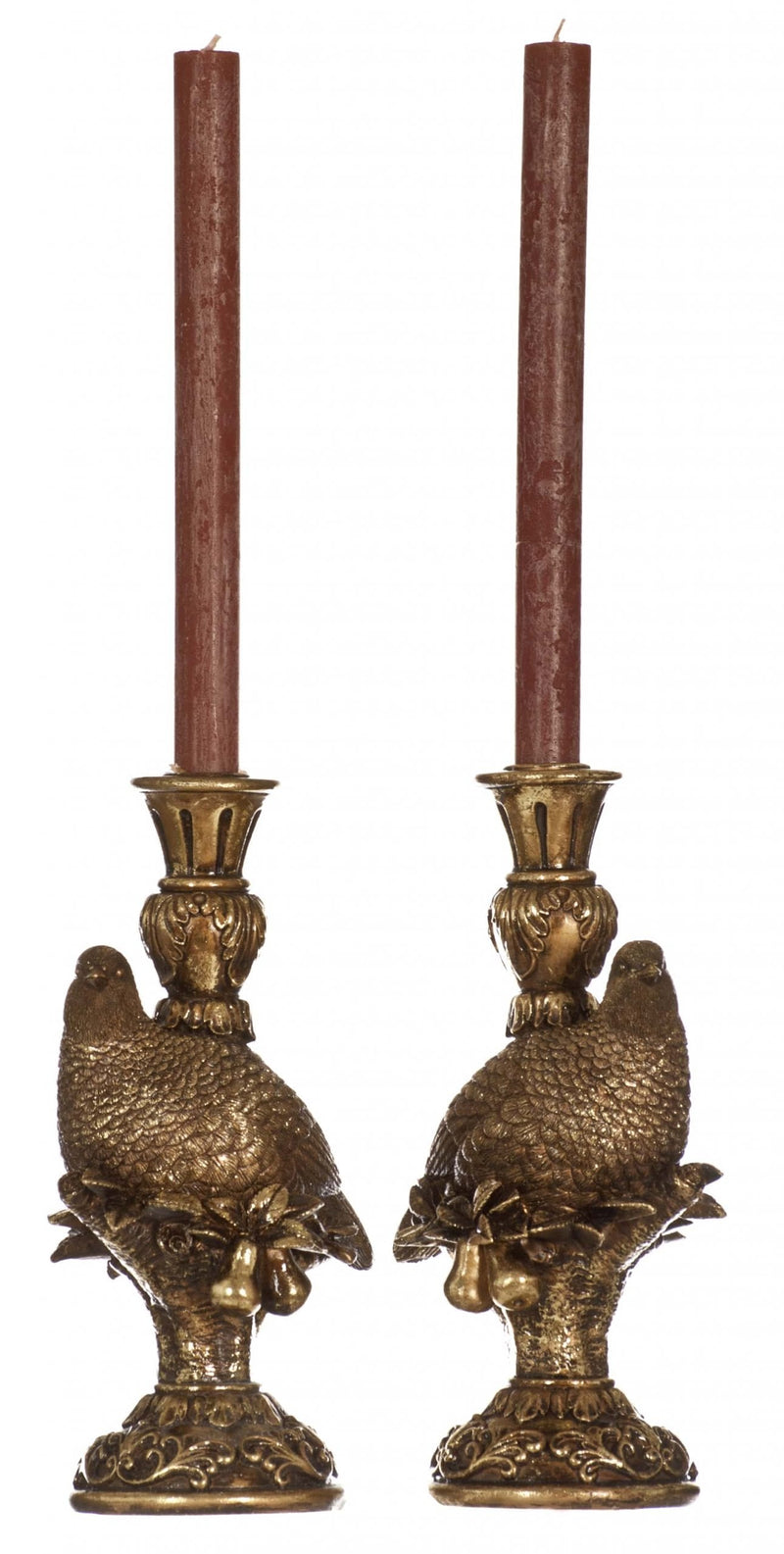 Set of 2 Luxury Partridge Gold Candle Holders