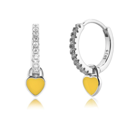 Pendientes Love Yellow Plata - Dalila Jewels