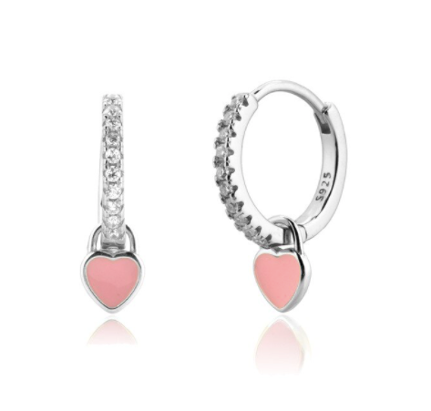Pendientes Love Pink Plata - Dalila Jewels