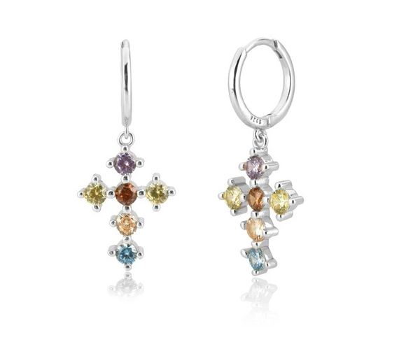 Pendientes Cross PLATA - Dalila Jewels