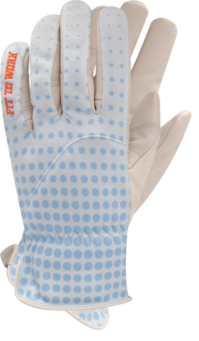 women's work glove - blue with leather palm and breathable cloth back