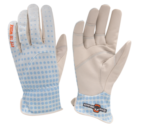 a pair of women's gardening gloves with white goatskin palms and light blue breathable fabric back