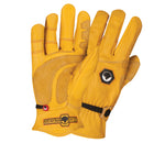 a pair of deerskin leather gloves with a focus on the reinforcing patches on the palm