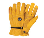a pair of deerskin leather gloves with a focus on the back of the hand, including the ball and tape wrist closure
