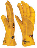a side view of deerskin leather work gloves that show the curvature of the StoneBreaker Fit to Work pattern