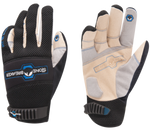 a pair of white synthetic leather palmed gloves with black breathable mesh back