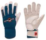 a pair of blue and white leather yard work gloves with orange highlights