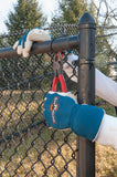 action shot of Landscape Pro work gloves using pliers to repair a fence