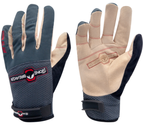 a pair of gray and white washable synthetic leather gloves
