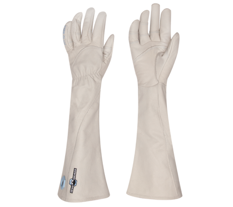 a pair of white elbow-length grain goatskin leather gloves