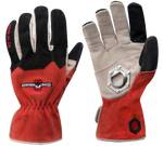 a pair of red and black leather tailgating gloves featuring a bottle opener in the right palm