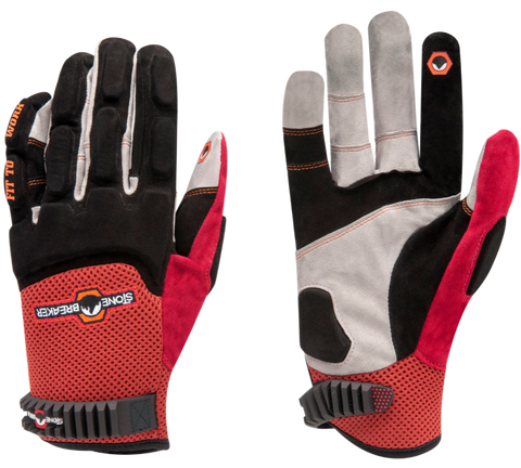 a pair of red, black and white synthetic leather mechanics gloves