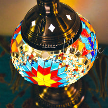"Load image into Gallery viewer, Handmade Turkish Mosaic Lamp ""Summer Flower Design"""