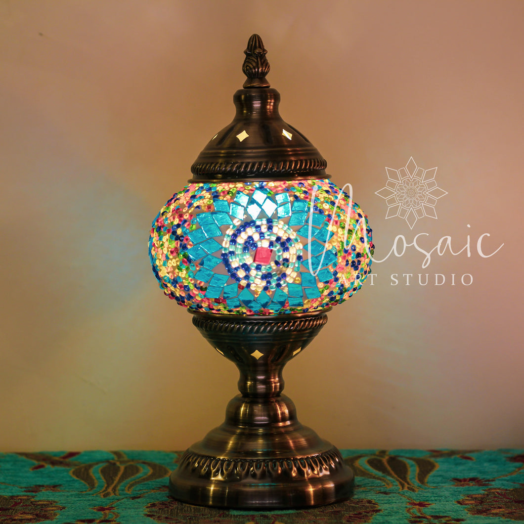 "Handmade Turkish Mosaic Lamp ""Blue Circle Design"""