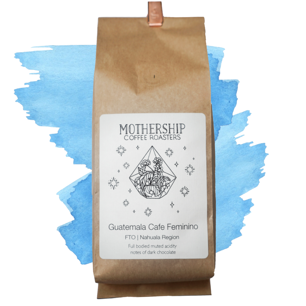 A coffee bag of Guatemala Cafe Feminino over blue watercolor marks