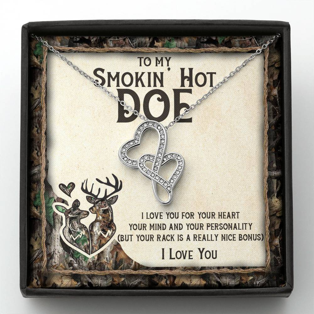 (ALMOST SOLD OUT) To my Smokin' hot DOE - I love you - Double Hearts Necklace