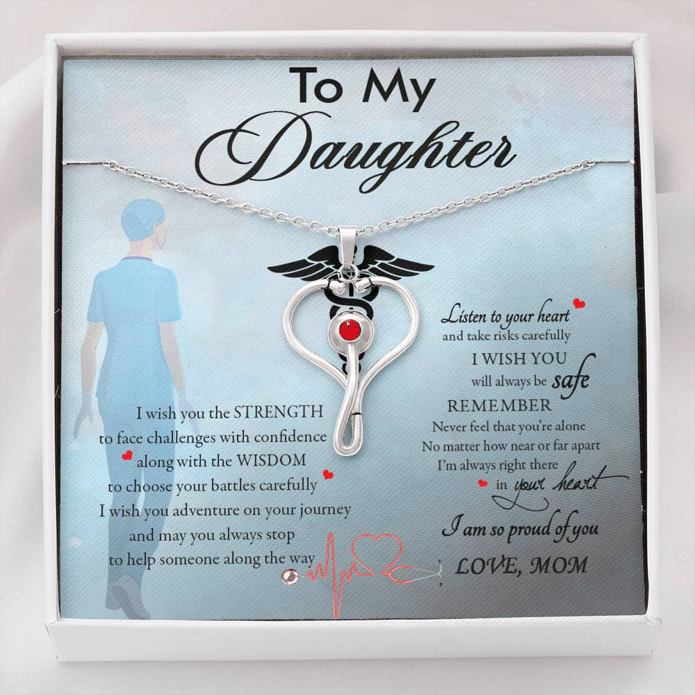 (ALMOST SOLD OUT) To my Daughter - I'm So Proud of You - Stethoscope Necklace