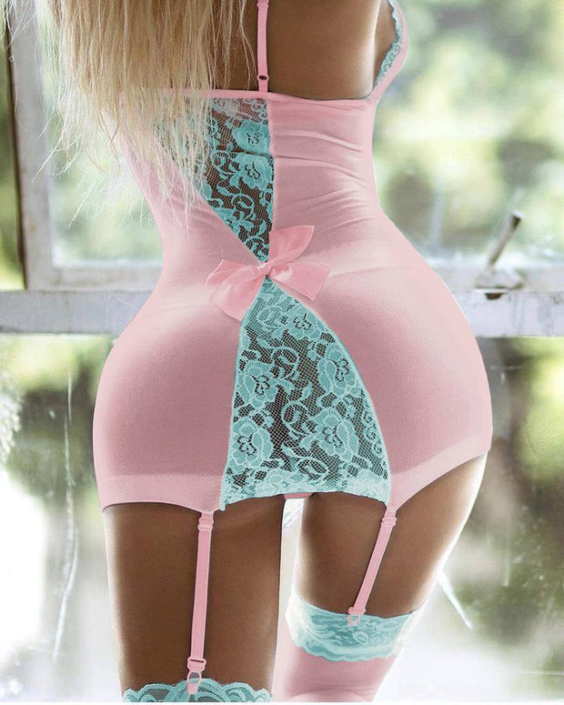 Colorblock Lace Bowknot Decor Garter Babydoll