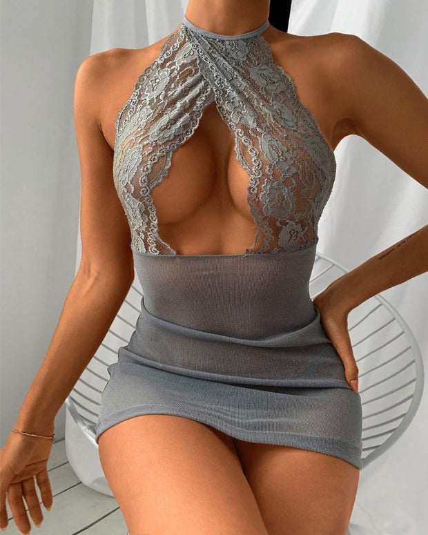 Cutout Front Crochet Lace Backless Babydoll