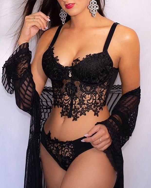 Crochet Lace Bra Top & Panties Set - Xmadstore