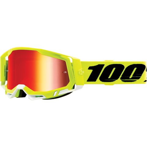 100% Racecraft 2 Goggles - Fluo Yellow - Red Mirror 50121-251-04 - Trailhead Powersports a Mines and Meadows, LLC Company