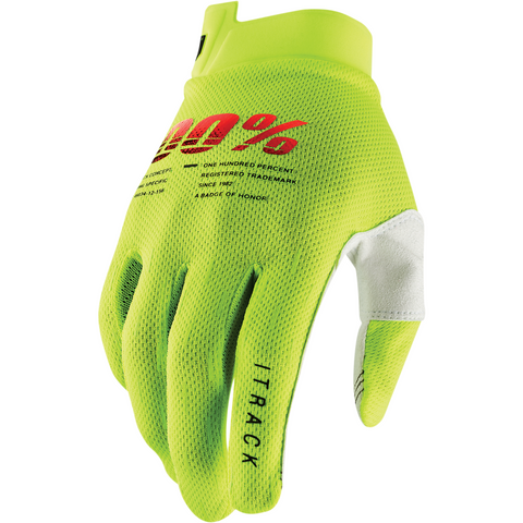 100% iTrack Gloves - Fluo Yellow