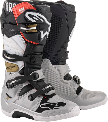 ALPINESTARS(MX) Tech 7 Boots - Black/Silver/White/Gold - US 7 2012014-1829-7