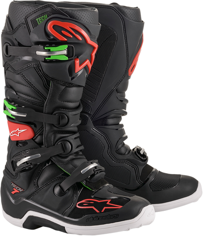 ALPINESTARS(MX) Tech 7 Boots - Black/Red/Green - US 7 2012014-1366-7