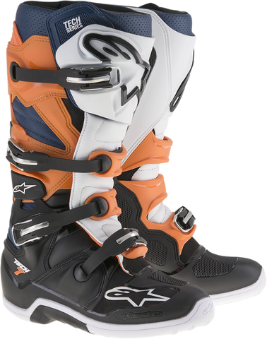 ALPINESTARS(MX) Tech 7 Enduro Boots - Black/Orange/Blue/White - US 7 2012114-1427-7