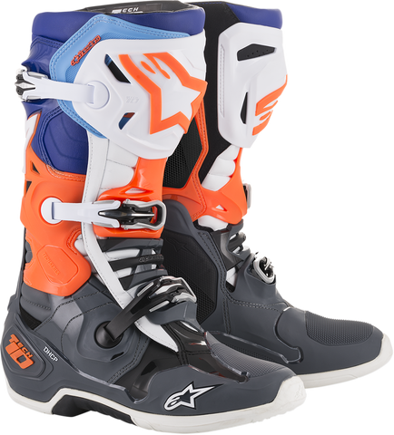 ALPINESTARS(MX) Tech 10 Boots - Gray/Orange/Blue - US 7 2010019-9047-7
