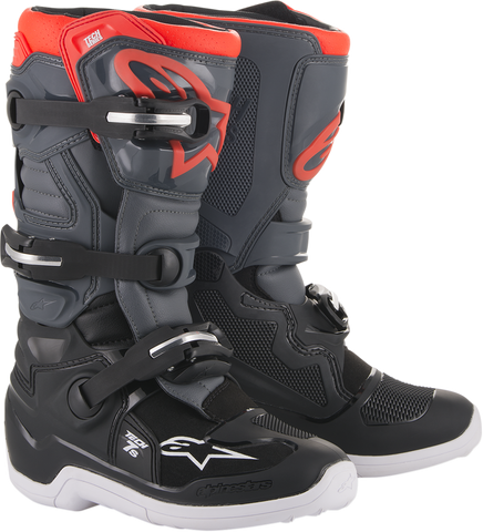 ALPINESTARS(MX) Tech 7S Boots - Dark Gray/Light Gray/Red Fluorescent - US 4 201501711334