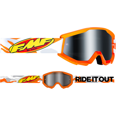 FMF VISION Youth PowerCore Goggles - Assault - Gray - Silver Mirror F-50500-252-09