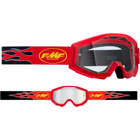 FMF VISION Youth PowerCore Goggles - Flame - Red - Clear F-50500-101-03