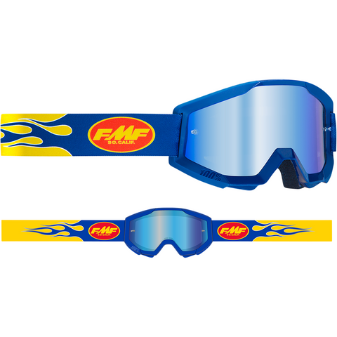 FMF VISION PowerCore Goggles - Flame - Navy - Blue Mirror F-50400-250-02
